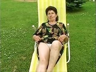 Granny Marie gets fucked really hard by the pool